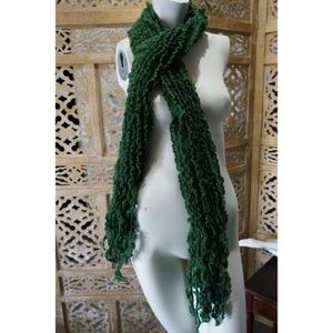 Green ruffled scarf with fringe